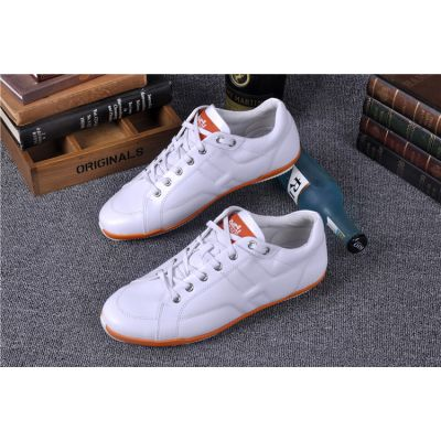 Men's Hermes Comfortable White Calfskin Leather Lace-up Sneaker Skidproof Rubber Outsole Loafers UK Replica