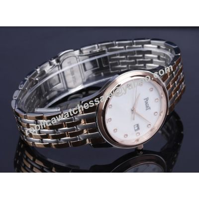 Piaget Dancer & Traditional Lady Silver Case Diamonds Scale Watch