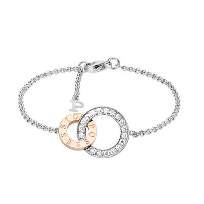 Piaget Possession Ladies' Diamonds Bracelet Double Circle Link Silver Rose Gold Plated Elegant Style Jewelry G36P8300