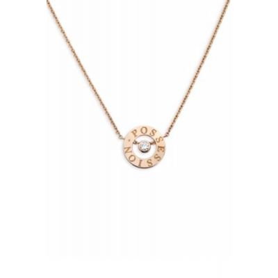 Piaget Possession Word Circle With Diamond Silver/ Rose Gold Plated Necklace-Bracelet Set Women Jewelry G33P0077/G33P0072