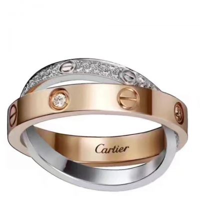 Cartier Love Ring Diamonds Double Cross Silver And Rose Gold Plated Party Style Lady Jewelry B4094600