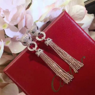 Panthere De Cartier Ladies' Crystals Drop Tassel Earrings Emerald Eye Sexy Style Valentine Gift Jewelry