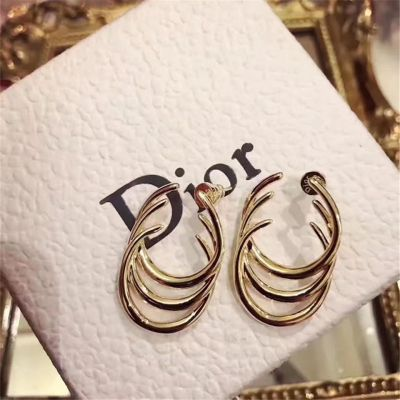 CD Dior Three Circles Stud Earrings Fake 18K Gold Plated Most Fashion Accessory