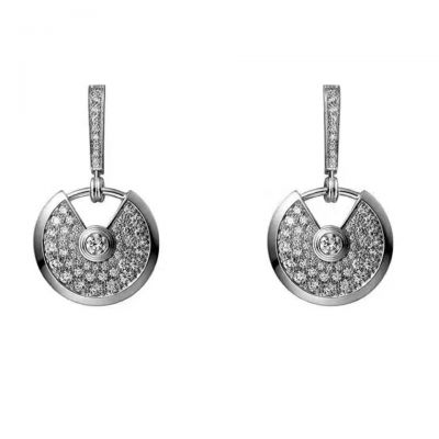Amulette De Cartier Women'S Crystals Round Opening Pendant Drop Earrings Silver Stylish Jewelry Hot Selling N8515029
