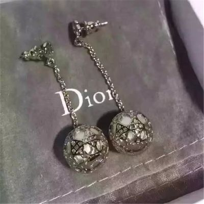 Christian Dior Silver Tone Resin Bead Secret Cannage Drop Earrings Replacement