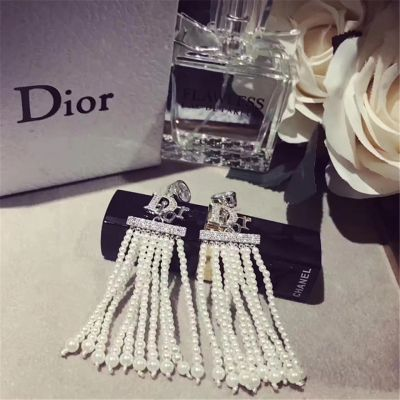 Christian Dior Pearls Tassel Drop Earrings Paris Fashion Show Dinner Party Hot Sale Lady Jewelry