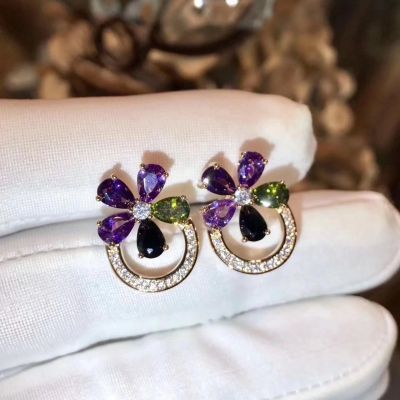 Bvlgari Sapphire Flower Colorful Crystals Ear-stud Yellow Gold/Pink Gold Party Jewelry Wholesale For Women