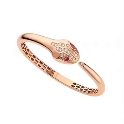 Bvlgari Serpenti Crystals Ruby Snake Hollow Silver/ Pink Gold Plated Bangle Celebrity Style Women Jewelry