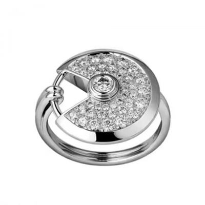 Amulette De Cartier Diamonds Round Open Adornment Ring White Gold Plated Celebrity Style Lady Jewelry B4213600