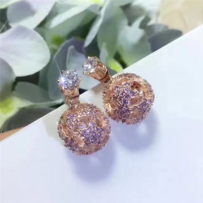 Christian Dior Round Ear-Stud Pink Gold Plated Hollow Design Star Adornment 2018 Latest Lady Jewelry