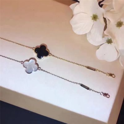 Van Cleef & Arpels Alhambra Clover Bracelet White Black Agate Double Surface USA Wholesale Lady Jewelry