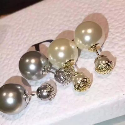 Christian Dior White/Grey Pearls Lace Decoration Stud Earrings 2018 Summer Autumn Collection