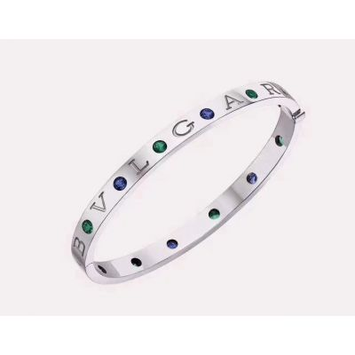 Bvlgari Bvlgari Six Green & Blue Crystals Bangle White Gold/Pink Gold Party Jewelry Sale Online BR857636