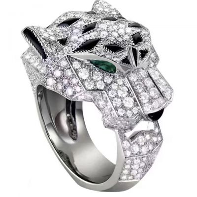 Panthere De Cartier Ladies' Crystals Emerald Eyes Band Latest Design Cool Style Fine Jewelry N4211000