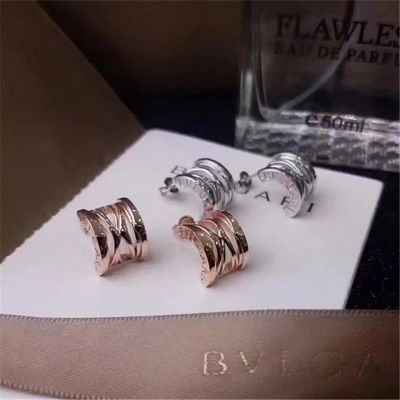 Bvlgari Hollow B.Zero1 Earrings Pink Gold/ White Gold Plated Hot Selling Women USA Sale