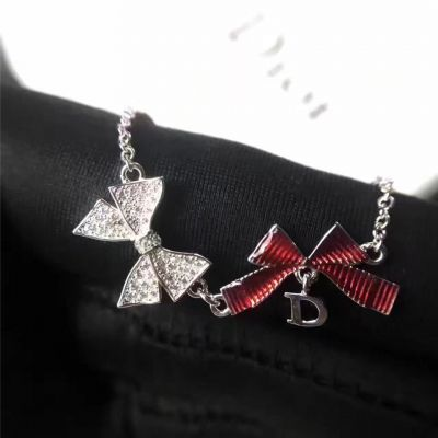 Christian Dior White & Red Double Bowknot Pendant Necklace Latest Design Fashion Lady Jewelry