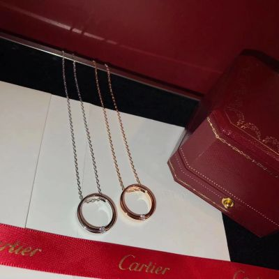 Cartier Narrow Circle Crystal Pendant Necklace Silver/ Pink Gold jewelry Dating Gift For Girls