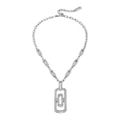 Bvlgari Parentesi Crystals Clip Pendant Chain Necklace Couple Style White Gold/Pink Gold Plated Gift 349186 CL856848
