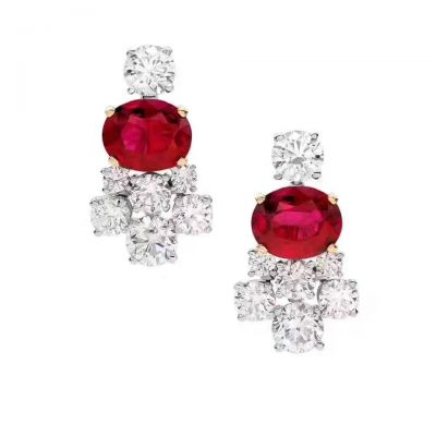 Top Selling Bvlgari Luxury Diamonds Ear-stud Ruby Party Queen Silver High Quality Fine Jewelry