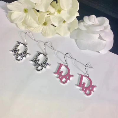 Christian Dior Pink & Crystals Silver Logo Drop Earrings New Arrival Street Fashion Modern Lady Jewelry