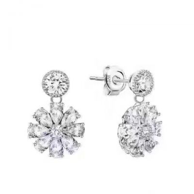 Bvlgari Women's Crystals Flower Ear Studs Silver Plated High-End Classy Jewelry Online Store Wholesale