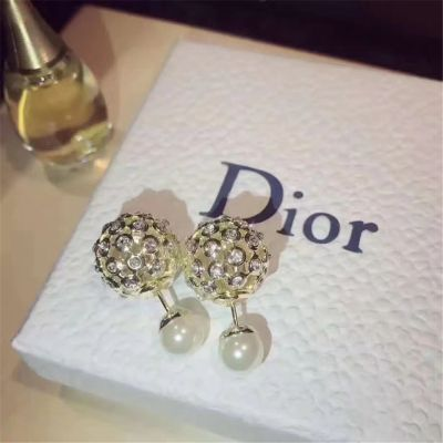 Christian Dior Crystals Pearl Round Ear-Stud Yellow Gold Plated Modern Style Fine Women Jewelry