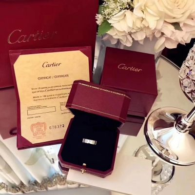 """Cartier Love Ring Screw Motifs Crystals """"LOVE"""" Letter White Gold/ Pink Gold Jewelry Couple Style"""