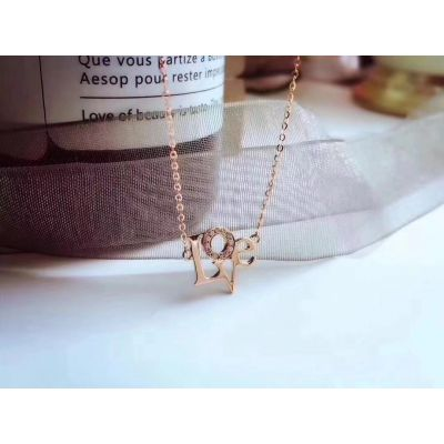 Cartier Love Letter Crystals Pendant Necklace White Gold/ Pink Gold Valentine Gift Women Jewelry