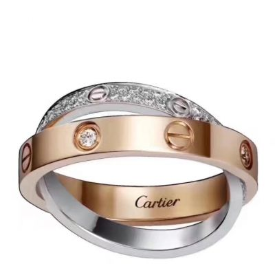 Cartier Love Ring Cross Winding Crystals Screw Motifs Silver & Pink Gold Plated Valentine Gift For Girls B4094600