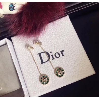 Christian Dior Rose Des Vents Green Eight-pointed Star Pendant Silver Drop Earring Women Jewelry JRDV95055_0000