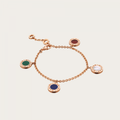 Bvlgari Bvlgari Chain Colorful Gems Charms BR857413 Bracelet Replica Silver/ Rose Gold Jewels