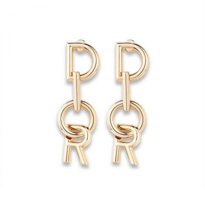 Lettre A Dior Gold Drop Earrings For Women E0533LADMT D300 2018 Latest Collection