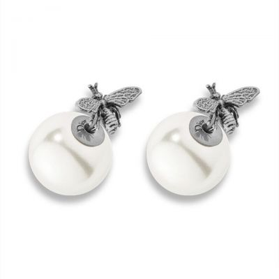 Dior Tribales Aged Silver/Gold White Resin Beads Bee Earrings E0637TRIRS D909 New Arrival