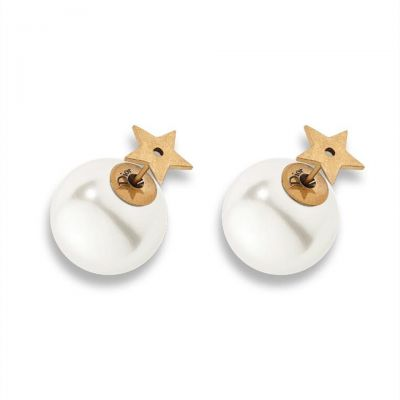Dior Tribales White Pearl Gold Star Stud Earrings E0638TRIRS D908 New Arrival Fashion