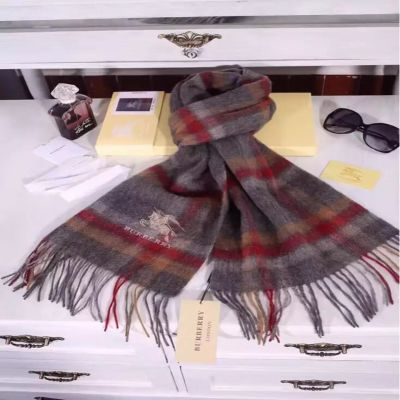 Burberry Grey Checked Cashmere Scarves Soft Cozy Men Christmas Gift Winter UK On Sale