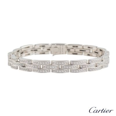 Cartier Maillon Panthere High End White Gold 3 Diamond-paved Rows Bracelet Fashion Jewellery For Lovers N6701000 Replica