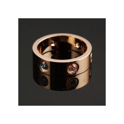 Cartier Love 18k Engagement Multicolor Crystals Ring Replica Rose Gold Sale Online