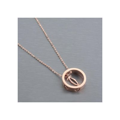 Cartier Love Ring & Double C Motif Pendant Necklace Clone Yellow Gold With Chain