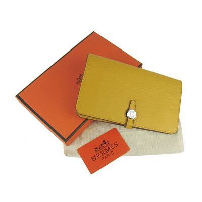 Cheapest Womens Claf Leather Hermes Long Dogon Wallet Removable Change Purse Yellow For Sale