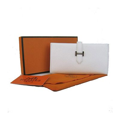 2017 Autumn Womens Hermes Narrow Central Flap Fake Bearn Wallet Silver H Loop White Leather