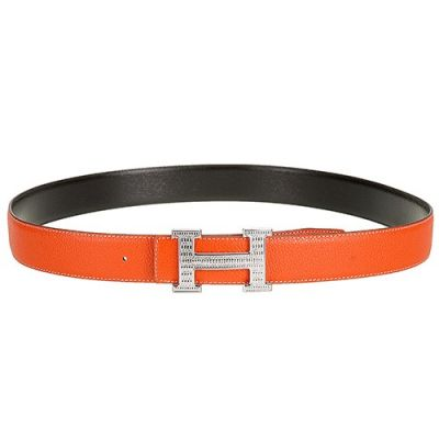 """Hermes Silver """"H"""" Anchor Snap On Buckle Ladies Orange Leather Belt Best Choice For Gift"""