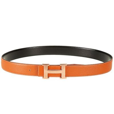 High Quality Hermes Orange Leather Strap Pink Rose H Pin Buckle Belt For Womens