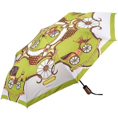 Hermes Print Double Layer Grey Check-Lined Green 3-Sections Telescoping Shaft Sun/Rain Travel Umbrella Unisex Sale
