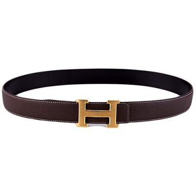 Hermes Terracotta Brown Leather Yellow Brass Anchor Snap On Buckle Fake Belt Lower Price