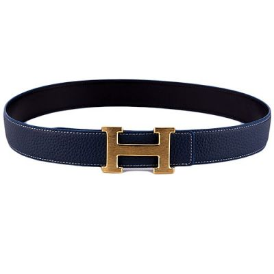 Hermes High End Navy Leather Strap Yellow Brass H Pin Buckle Ladies Belt Price List