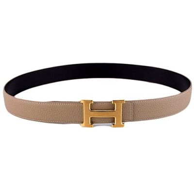2017 New Hermes Light Grey Grainy Leather Strap Yellow Gold Plated H Buckle Ladies Casual Belt