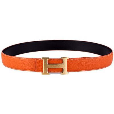 AAA Quality Hermes Womens Orange Leather Belt With Yellow Brass H Buckle Replica