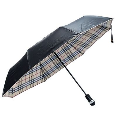 Burberry Camel Check-Lined Black Durable Auto Open/Close Windproof Repellent Metal Shaft Folding Unisex Umbrella Sale