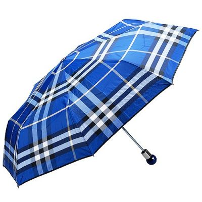 Burberry Trafalgar Blue Check Celebrities Lightweight One Touch Auto Open & Close Wind Rain Protection Folding Umbrella