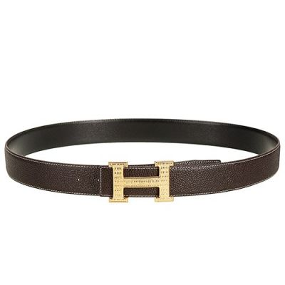 High End Brown Leather Strap Yellow Gold H Buckle Belt For Lover 2017 Price List